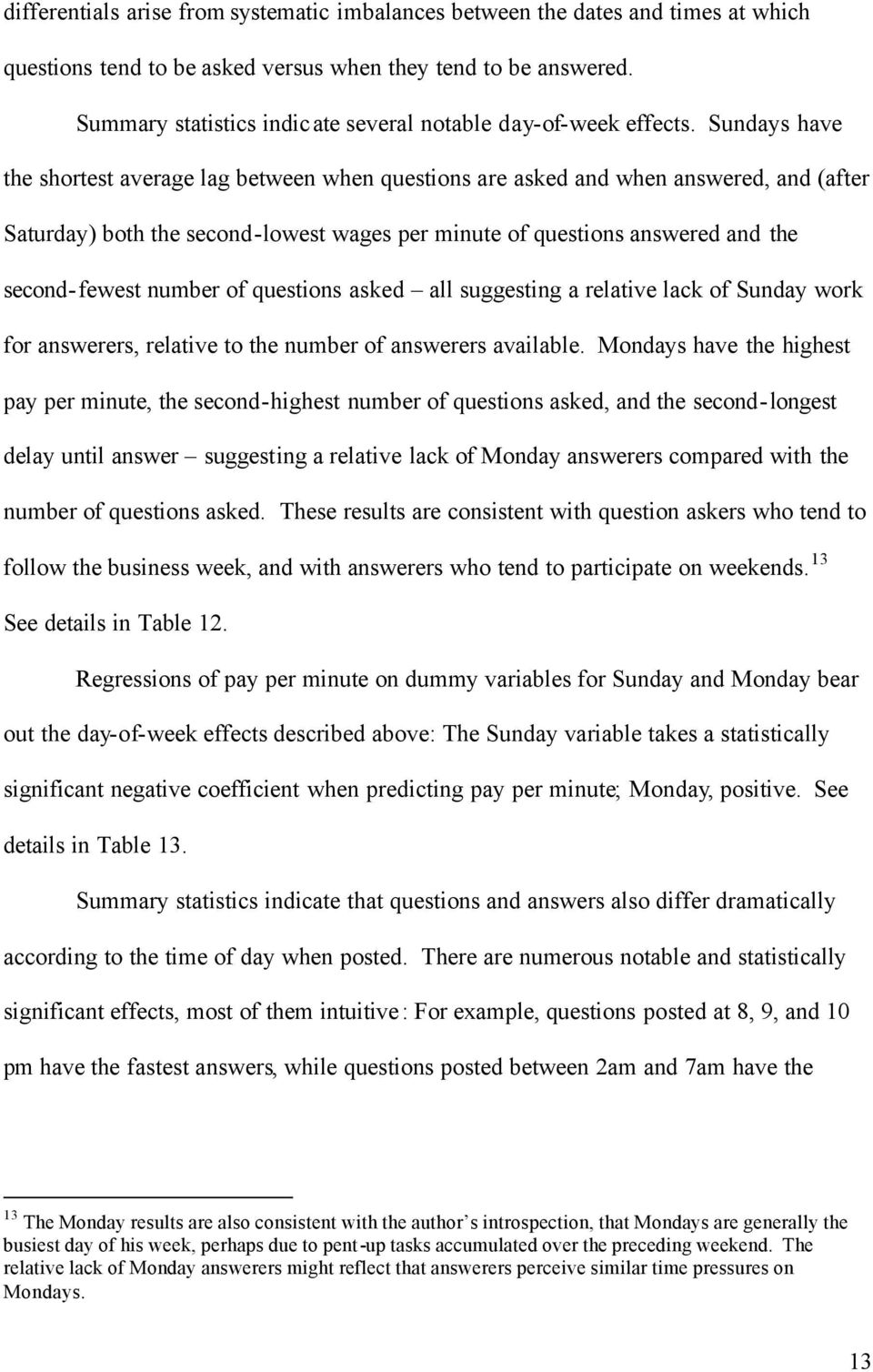 Sundays have the shortest average lag between when questions are asked and when answered, and (after Saturday) both the second-lowest wages per minute of questions answered and the second-fewest