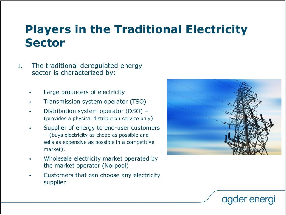 Distribution system operator (DSO) (provides a physical distribution service only) Supplier of energy to end-user customers (buys