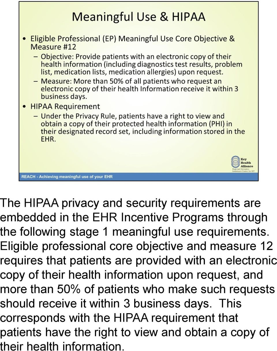 Eligible professional core objective and measure 12 requires that patients are provided with an electronic copy of their health