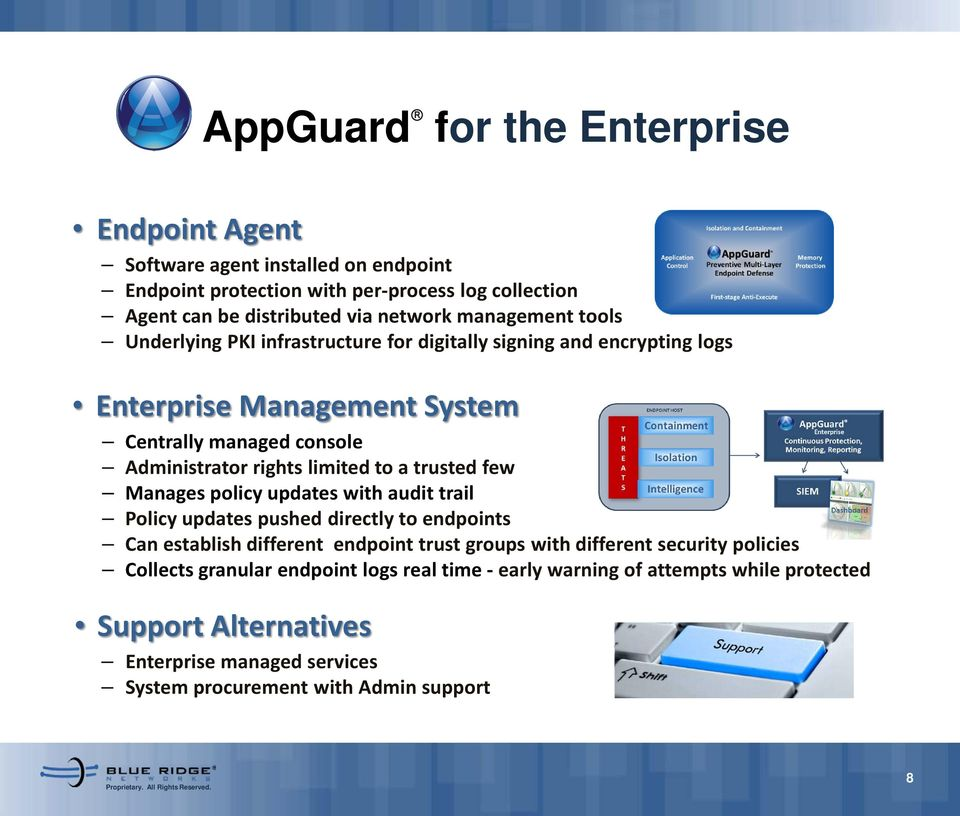 to a trusted few Manages policy updates with audit trail Policy updates pushed directly to endpoints Can establish different endpoint trust groups with different security