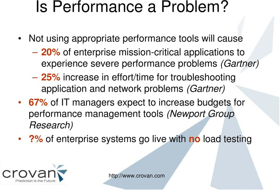experience severe performance problems (Gartner) 25% increase in effort/time for troubleshooting