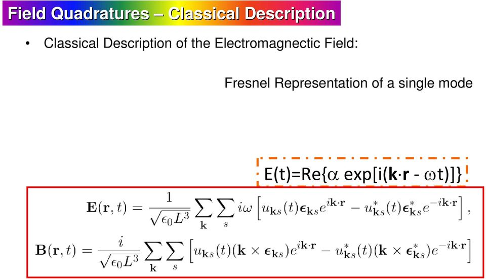 Electromagnectic Field: Fresnel