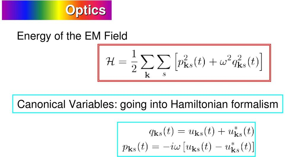 Canonical Variables: