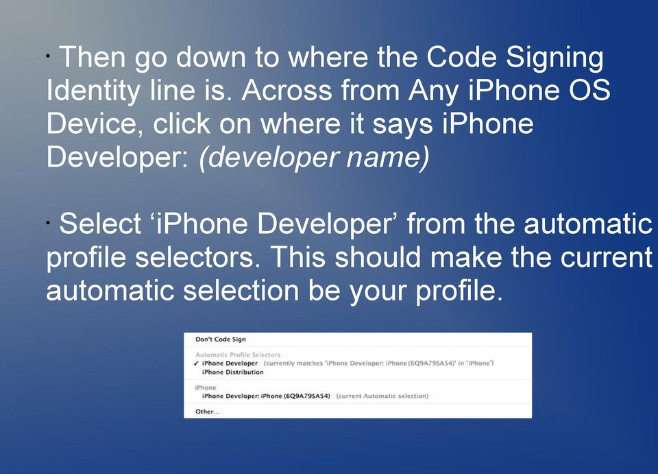 Developer: (developer name) Select iphone Developer from the