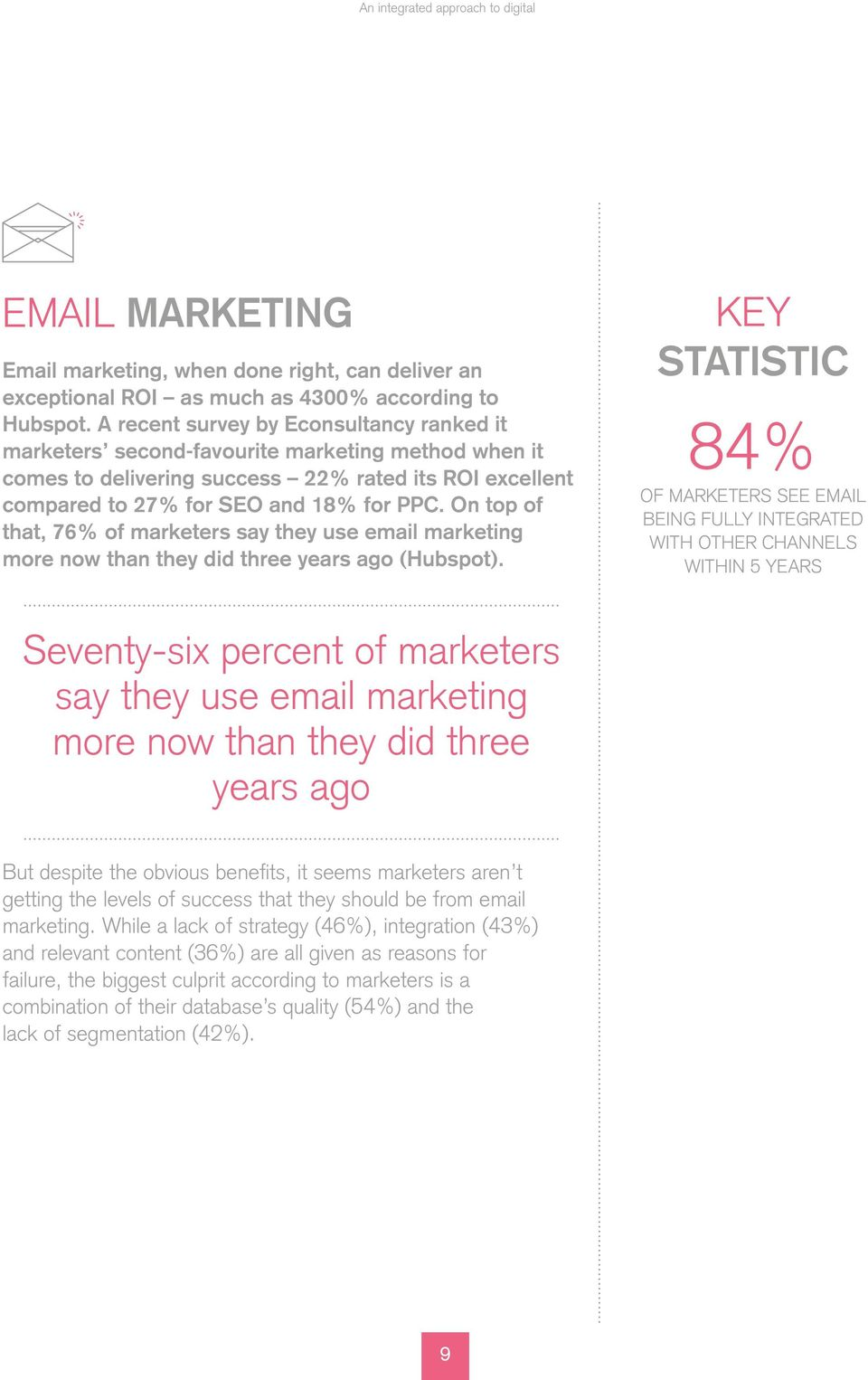 On top of that, 76% of marketers say they use email marketing more now than they did three years ago (Hubspot).