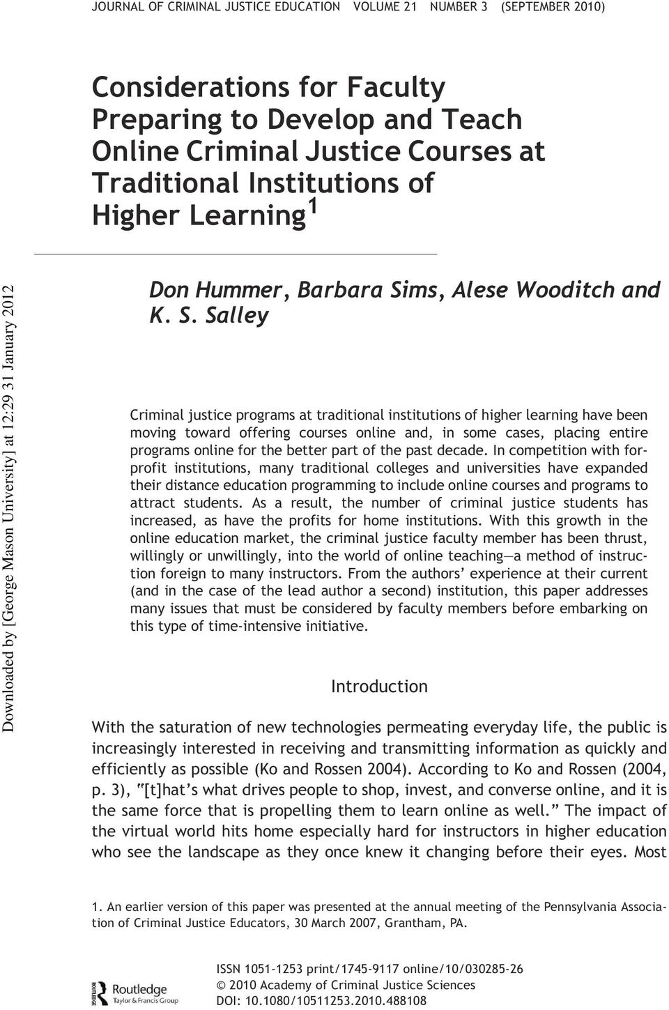 edu DonHummer and & of Article Francis Criminal (print)/1745-9117 Justice Education (online) Don Hummer, Barbara Si