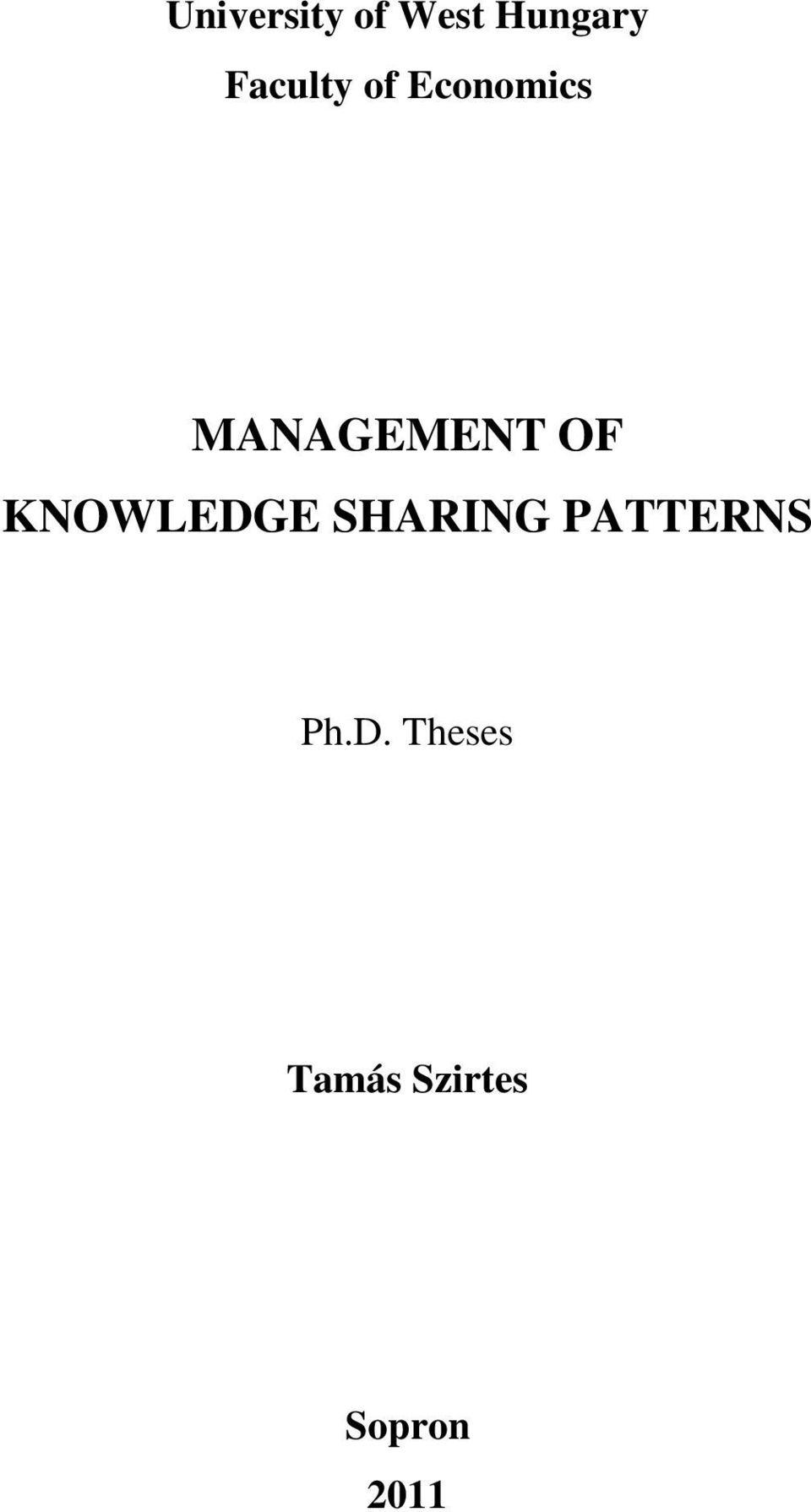 OF KNOWLEDGE SHARING PATTERNS