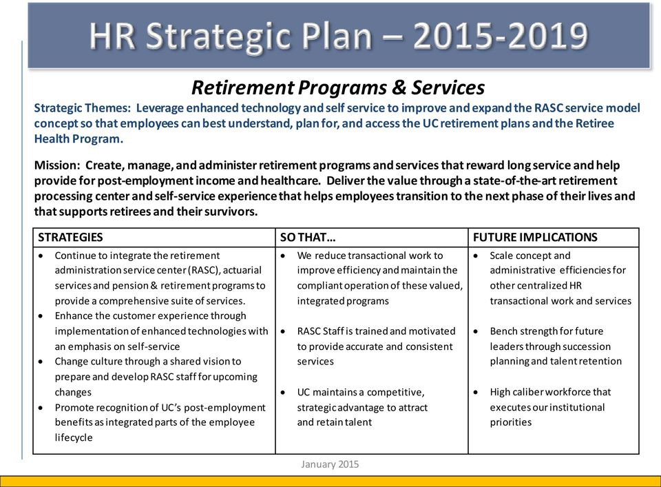 Mission: Create, manage, and administer retirement programs and services that reward long service and help provide for post-employment income and healthcare.