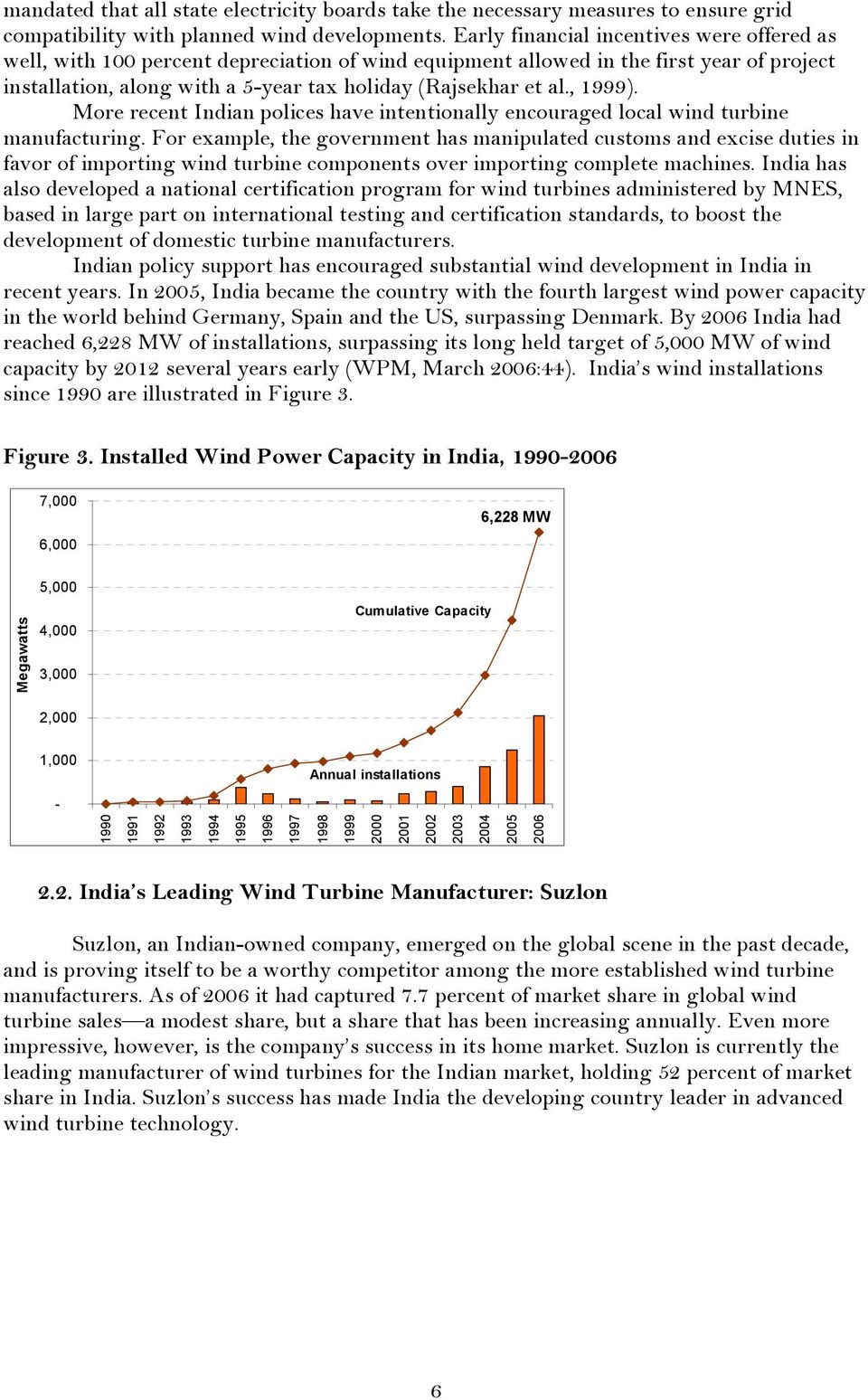 , 1999). More recent Indian polices have intentionally encouraged local wind turbine manufacturing.