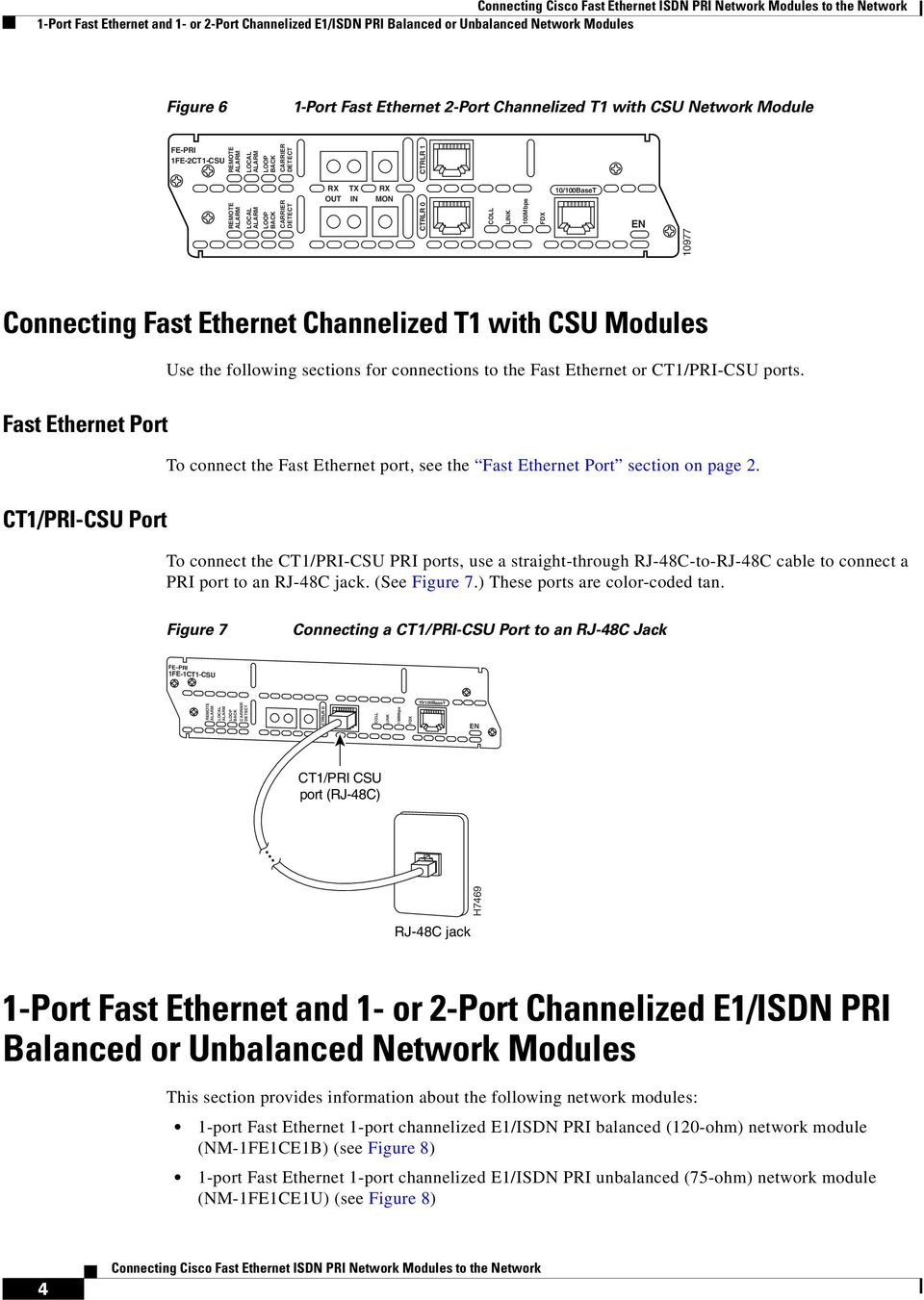 Fast Ethernet Port To connect the Fast Ethernet port, see the Fast Ethernet Port section on page 2.