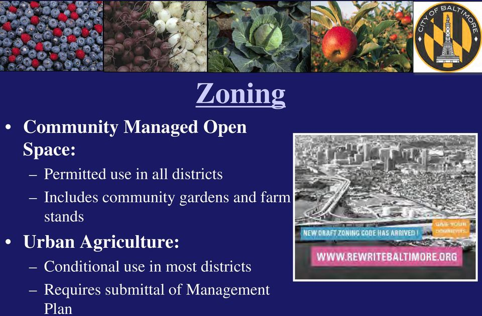 farm stands Urban Agriculture: Conditional use in