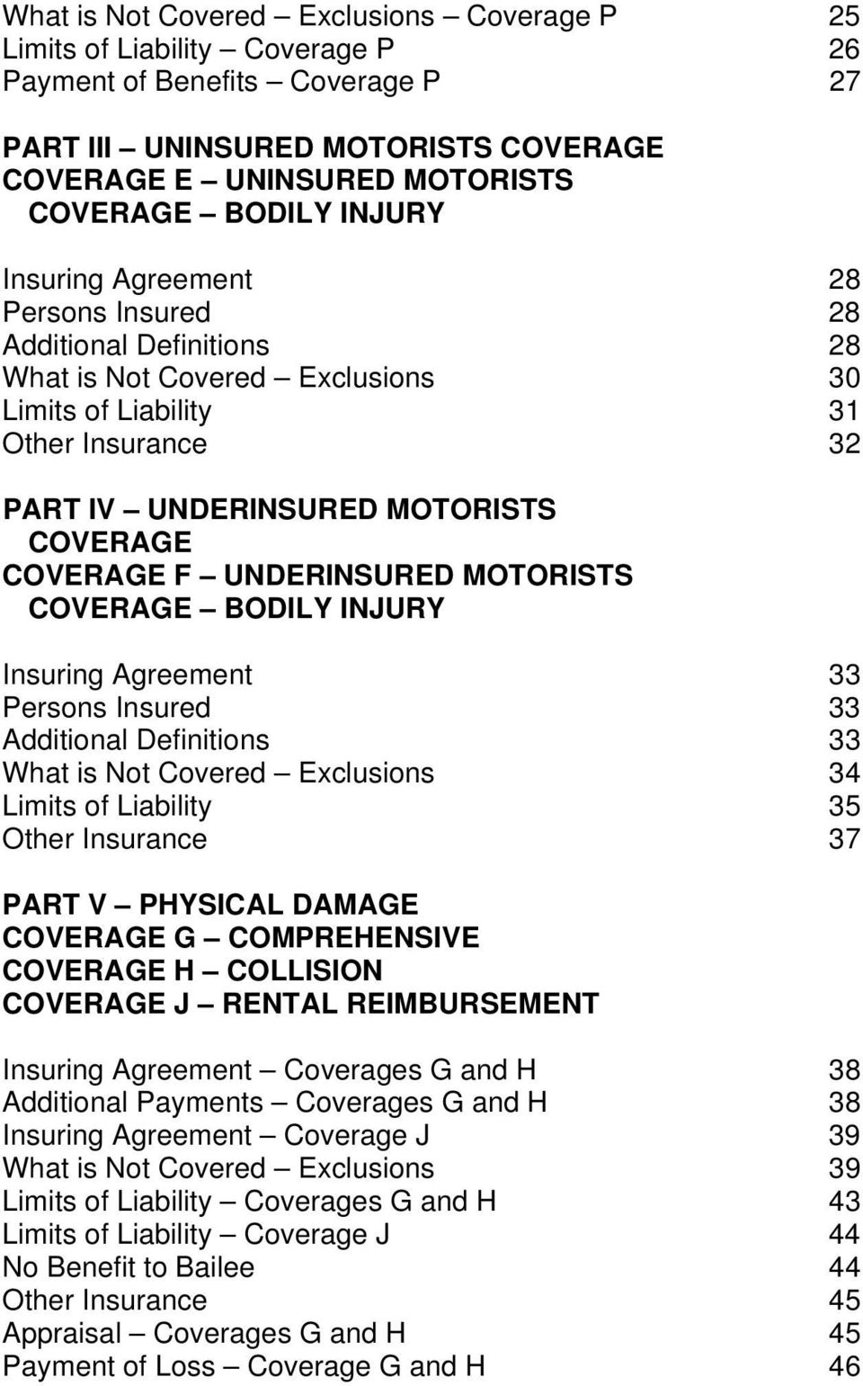 F UNDERINSURED MOTORISTS COVERAGE BODILY INJURY Insuring Agreement 33 Persons Insured 33 Additional Definitions 33 What is Not Covered Exclusions 34 Limits of Liability 35 Other Insurance 37 PART V