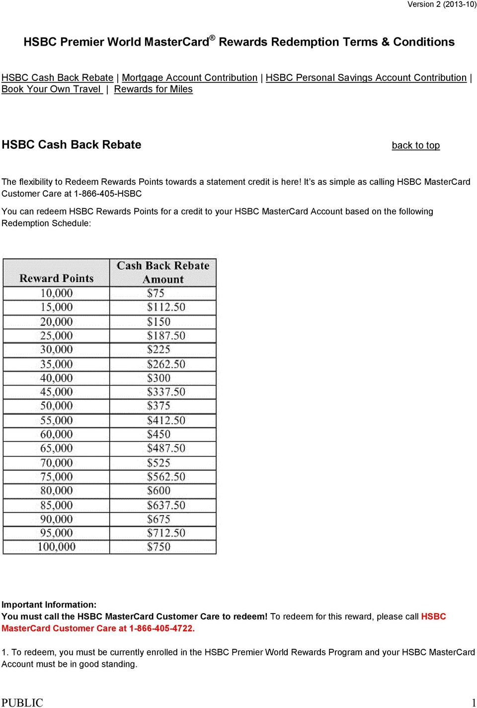 It s as simple as calling HSBC MasterCard Customer Care at 1-866-405-HSBC You can redeem HSBC Rewards Points for a credit to your HSBC MasterCard Account based on the following Redemption Schedule: