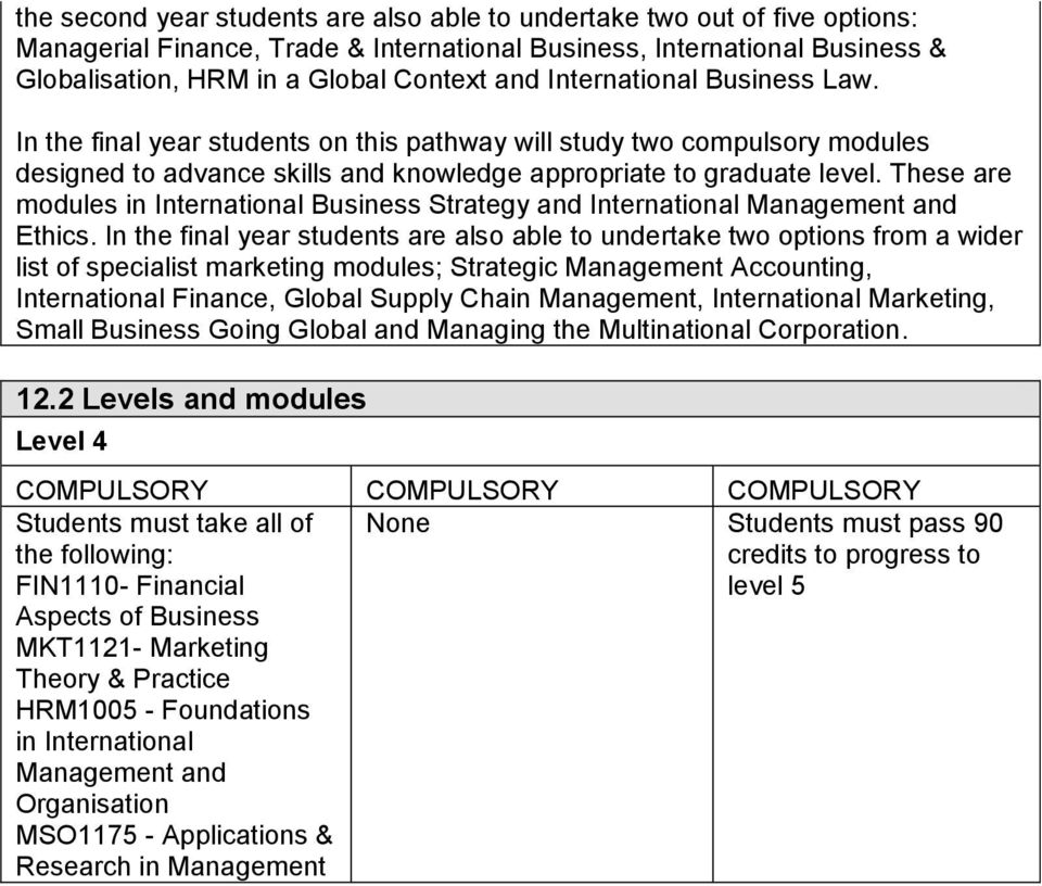 These are modules in International Business Strategy and International Management and Ethics.