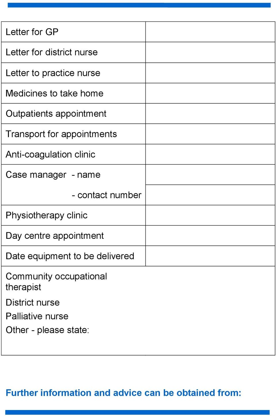 Day centre appointment - contact number Date equipment to be delivered Community occupational therapist