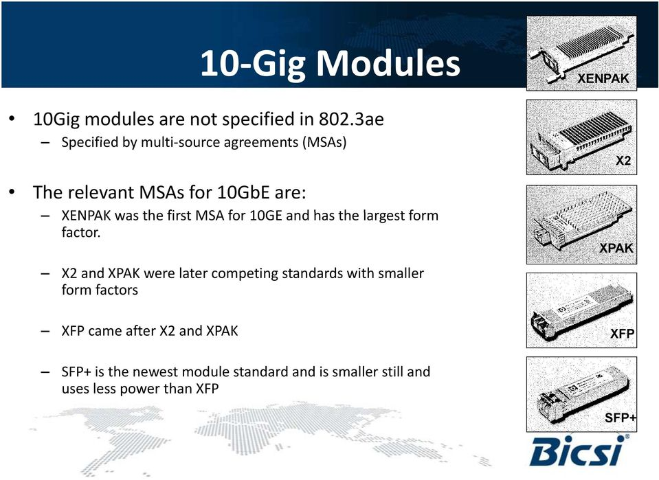 MSA for 10GE and has the largest form factor.