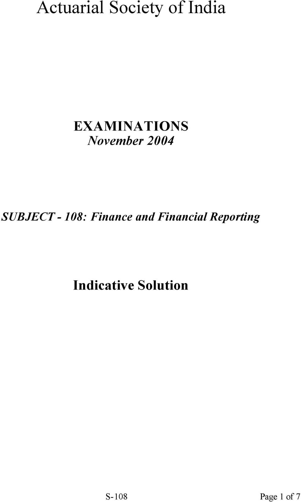 - 108: Finance and Financial