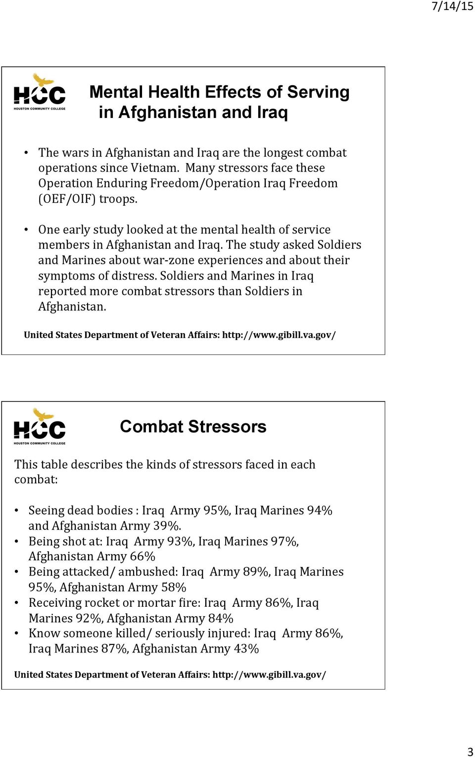The study asked Soldiers and Marines about war- zone experiences and about their symptoms of distress. Soldiers and Marines in Iraq reported more combat stressors than Soldiers in Afghanistan.