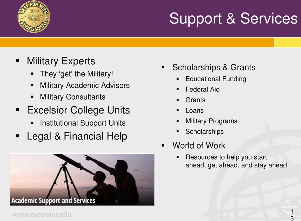 Support Units Legal & Financial Help Scholarships & Grants Educational Funding Federal