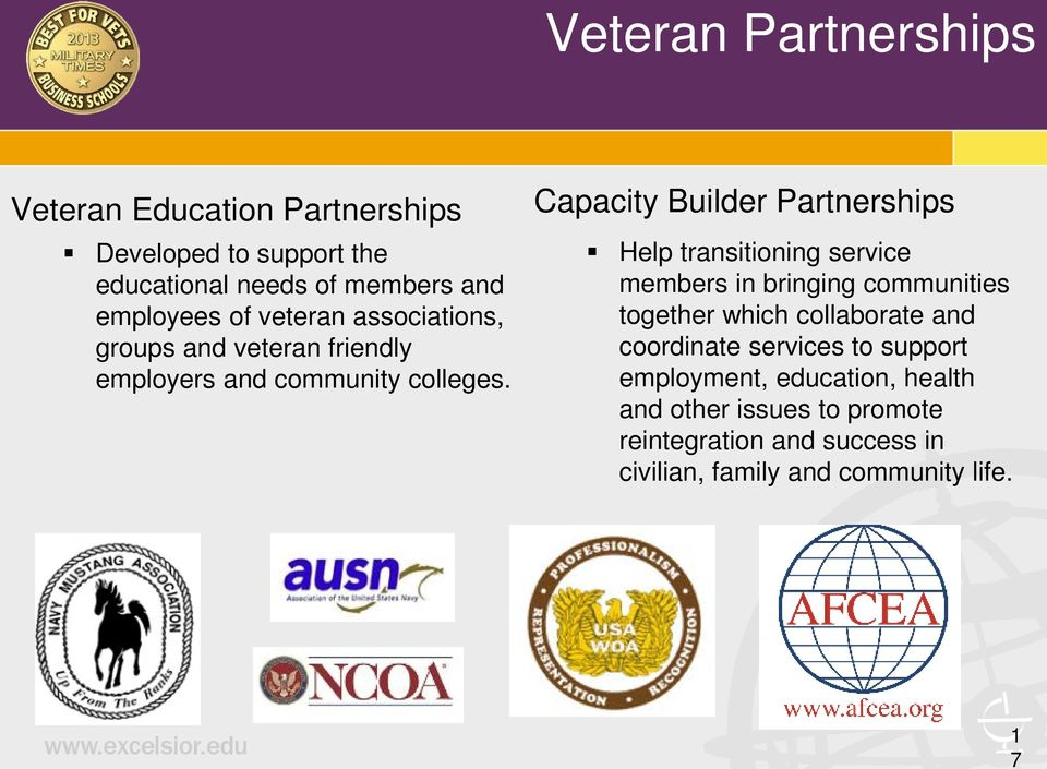 Capacity Builder Partnerships Help transitioning service members in bringing communities together which collaborate and