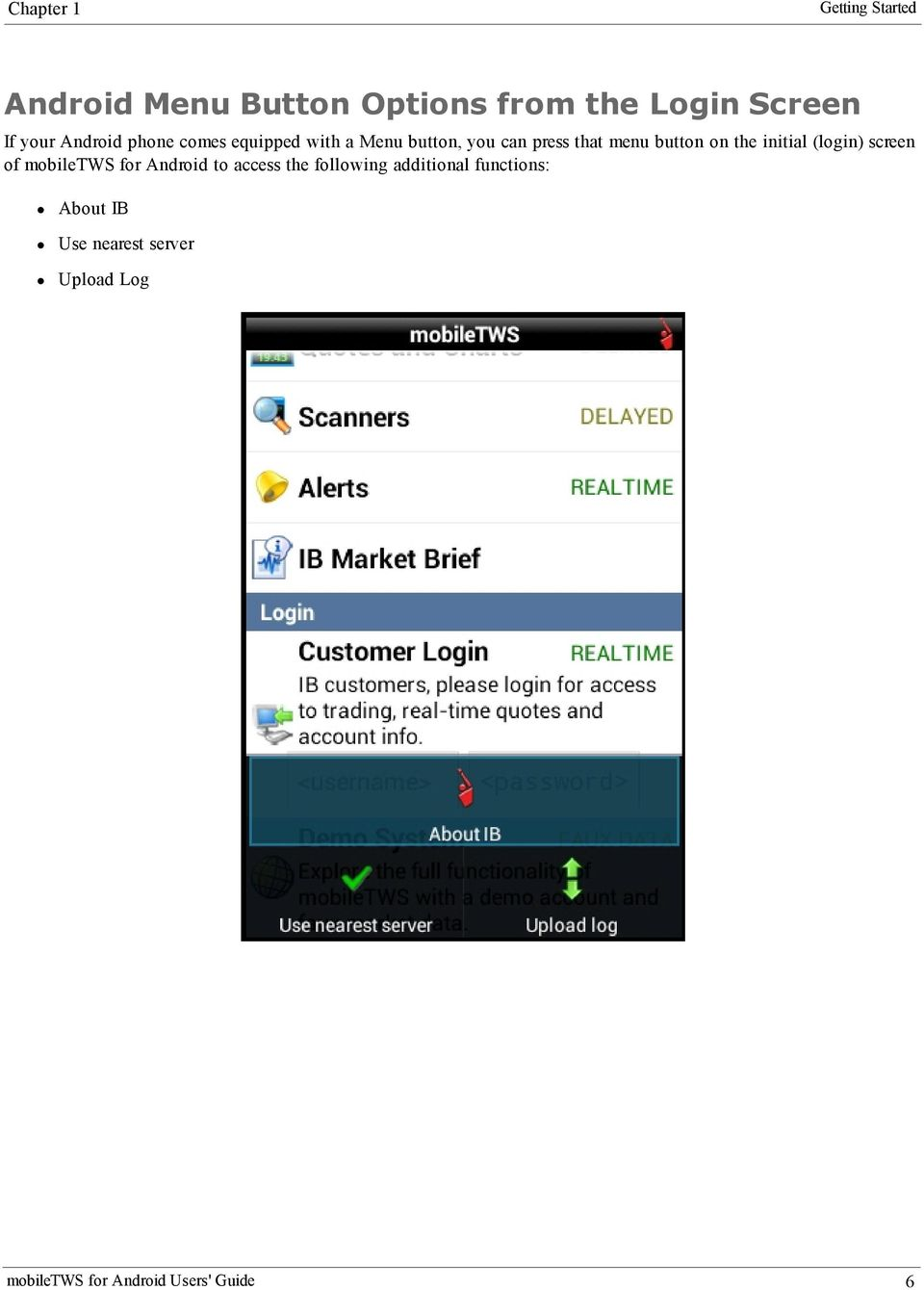 the initial (login) screen of mobiletws for Android to access the following