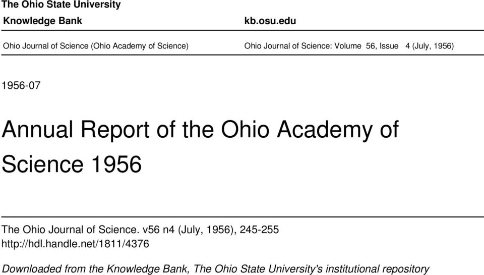 (July, 1956) 1956-07 Annual Report of the Ohio Academy of Science 1956 The Ohio Journal of Science.