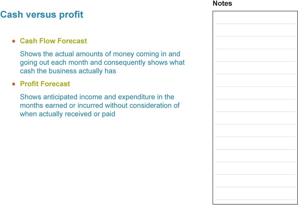 business actuay has Profit Forecast Shows anticipated income and