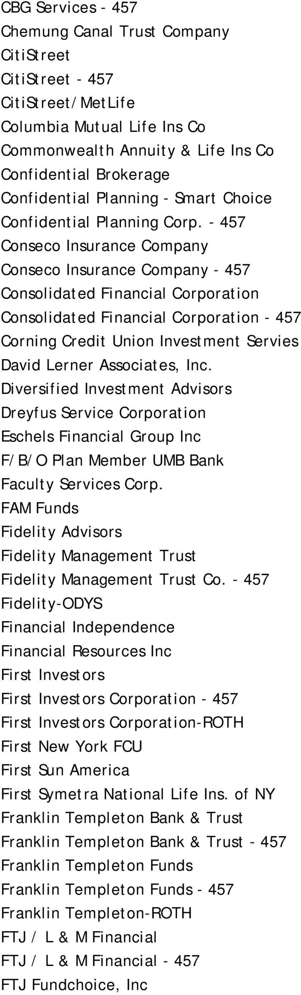 - 457 Conseco Insurance Company Conseco Insurance Company - 457 Consolidated Financial Corporation Consolidated Financial Corporation - 457 Corning Credit Union Investment Servies David Lerner