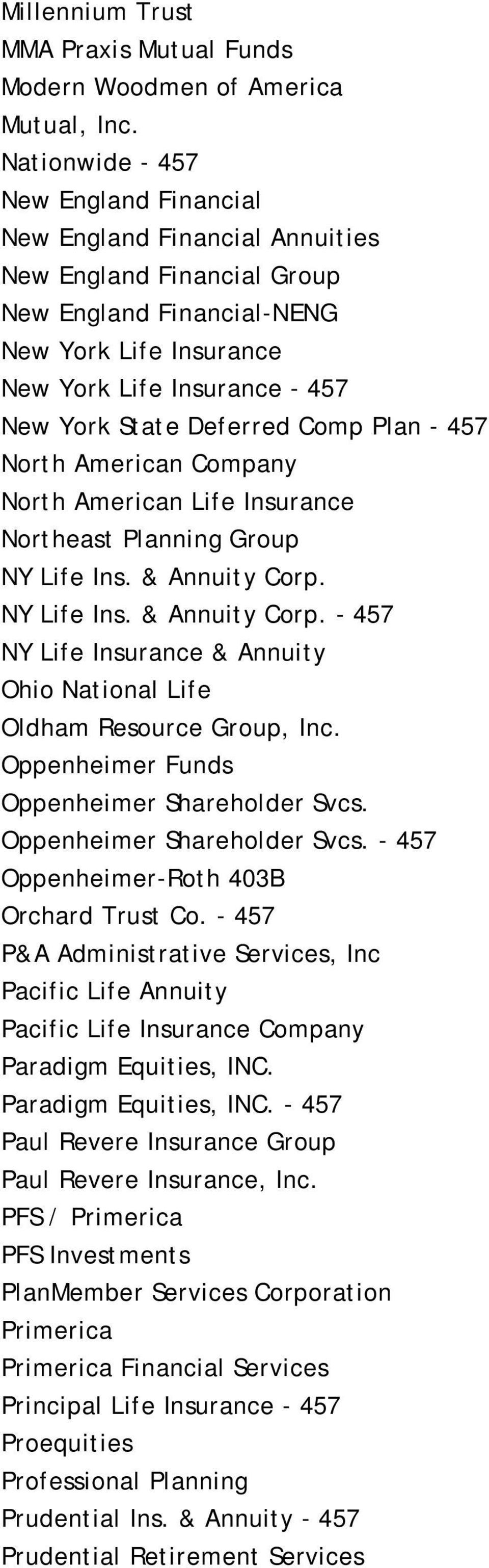 Deferred Comp Plan - 457 North American Company North American Life Insurance Northeast Planning Group NY Life Ins. & Annuity Corp.