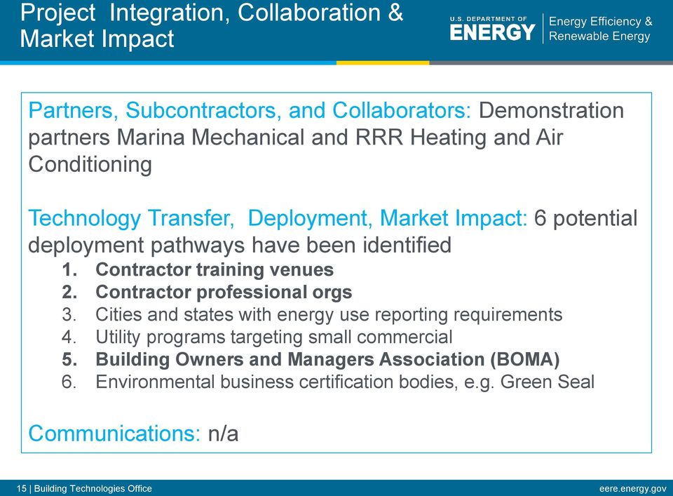 Contractor professional orgs 3. Cities and states with energy use reporting requirements 4. Utility programs targeting small commercial 5.