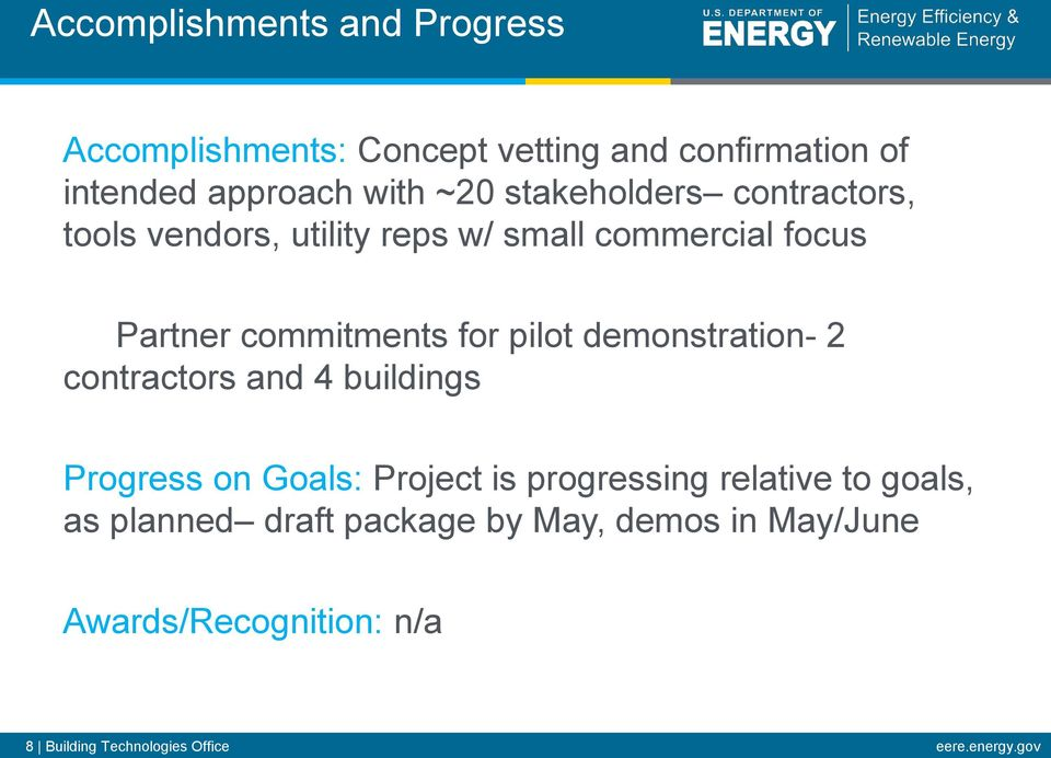 demonstration- 2 contractors and 4 buildings Progress on Goals: Project is progressing relative to goals, as