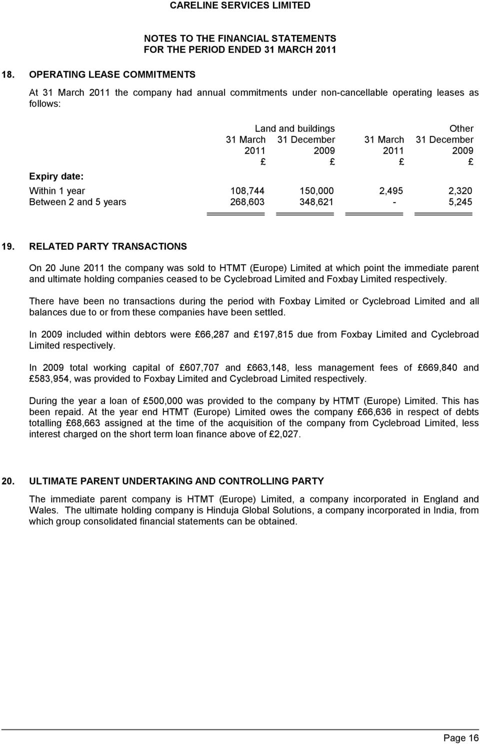 RELATED PARTY TRANSACTIONS On 20 June 2011 the company was sold to HTMT (Europe) Limited at which point the immediate parent and ultimate holding companies ceased to be Cyclebroad Limited and Foxbay