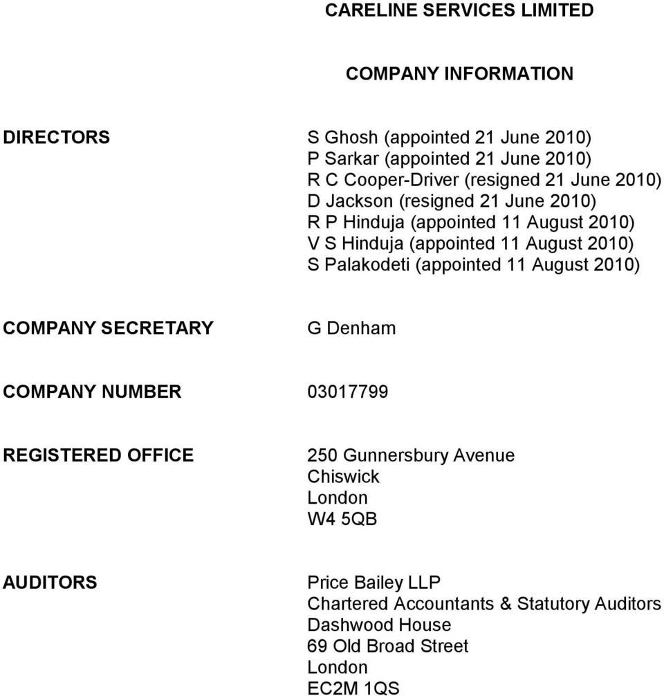 Palakodeti (appointed 11 August 2010) COMPANY SECRETARY G Denham COMPANY NUMBER 03017799 REGISTERED OFFICE 250 Gunnersbury Avenue