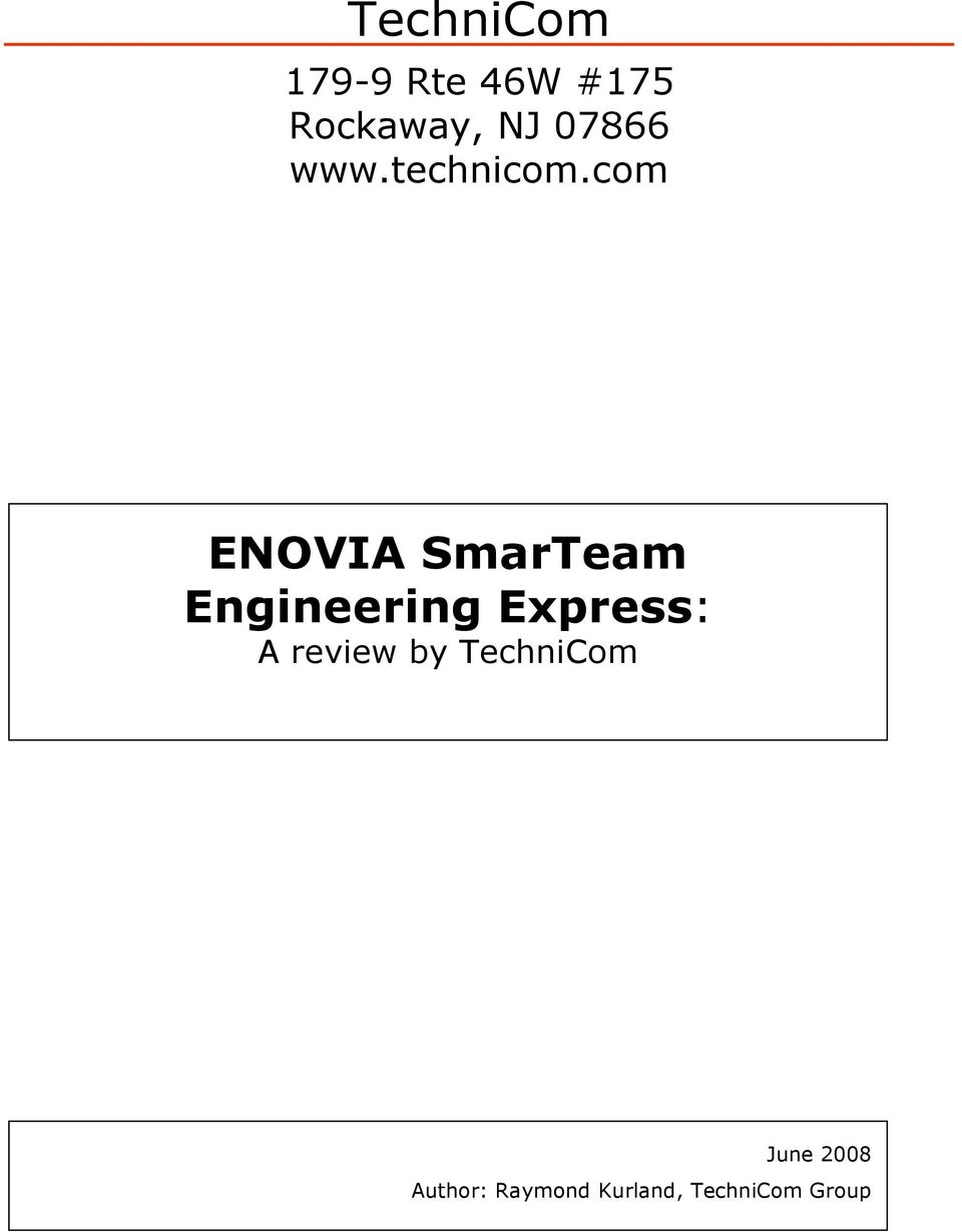 com ENOVIA SmarTeam Engineering Express: A