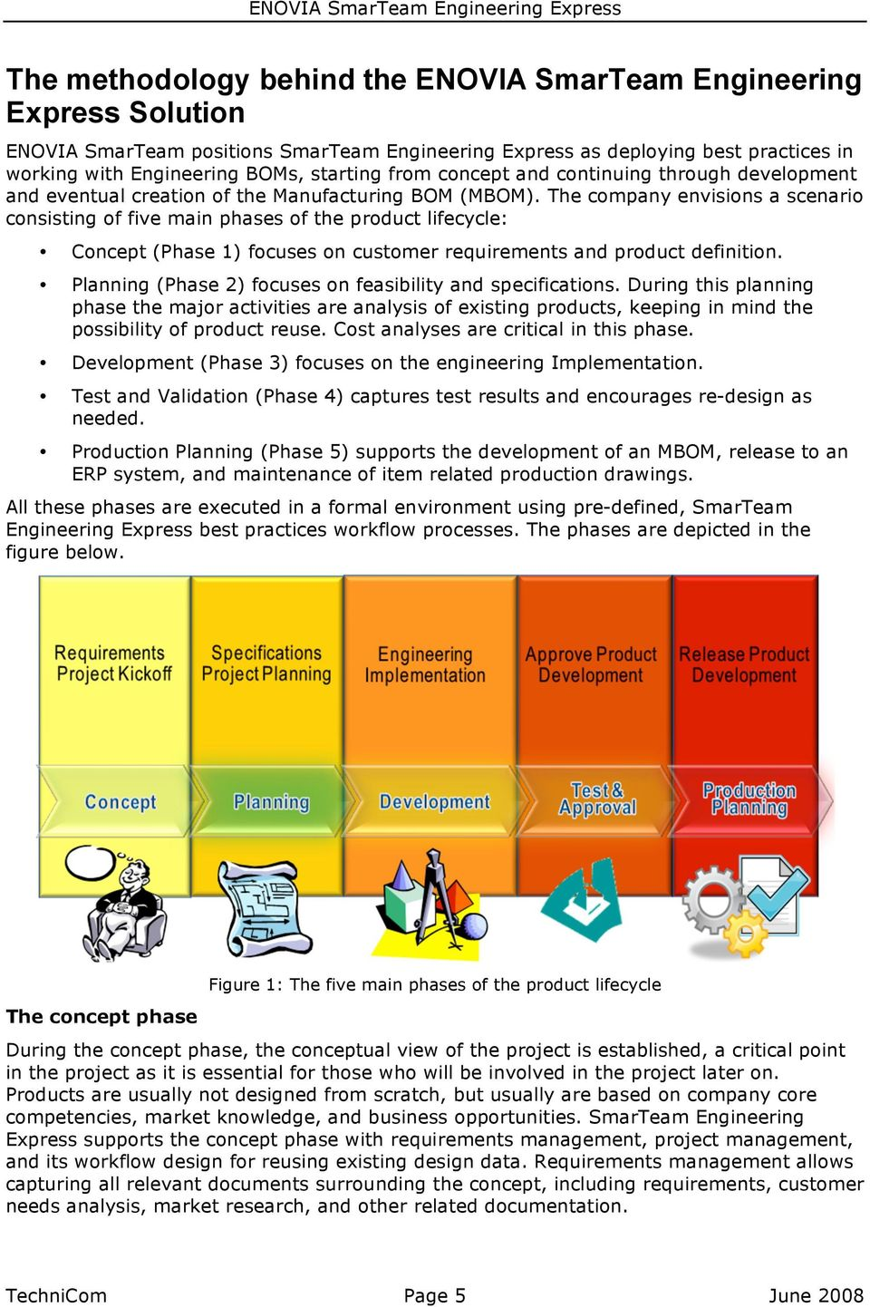 The company envisions a scenario consisting of five main phases of the product lifecycle: Concept (Phase 1) focuses on customer requirements and product definition.