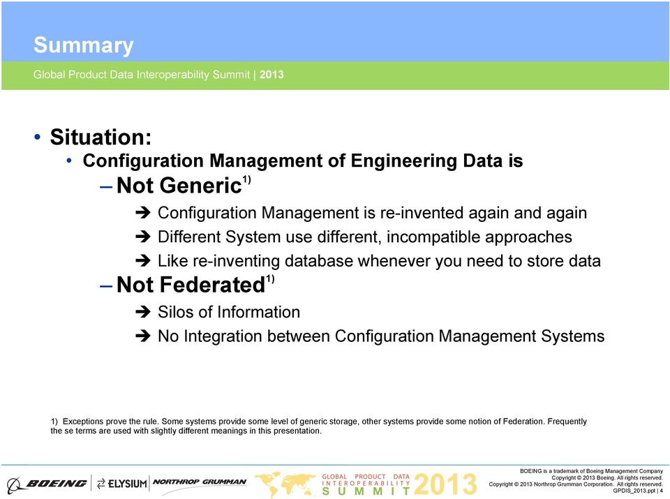 Information No Integration between Configuration Management Systems 1) Exceptions prove the rule.