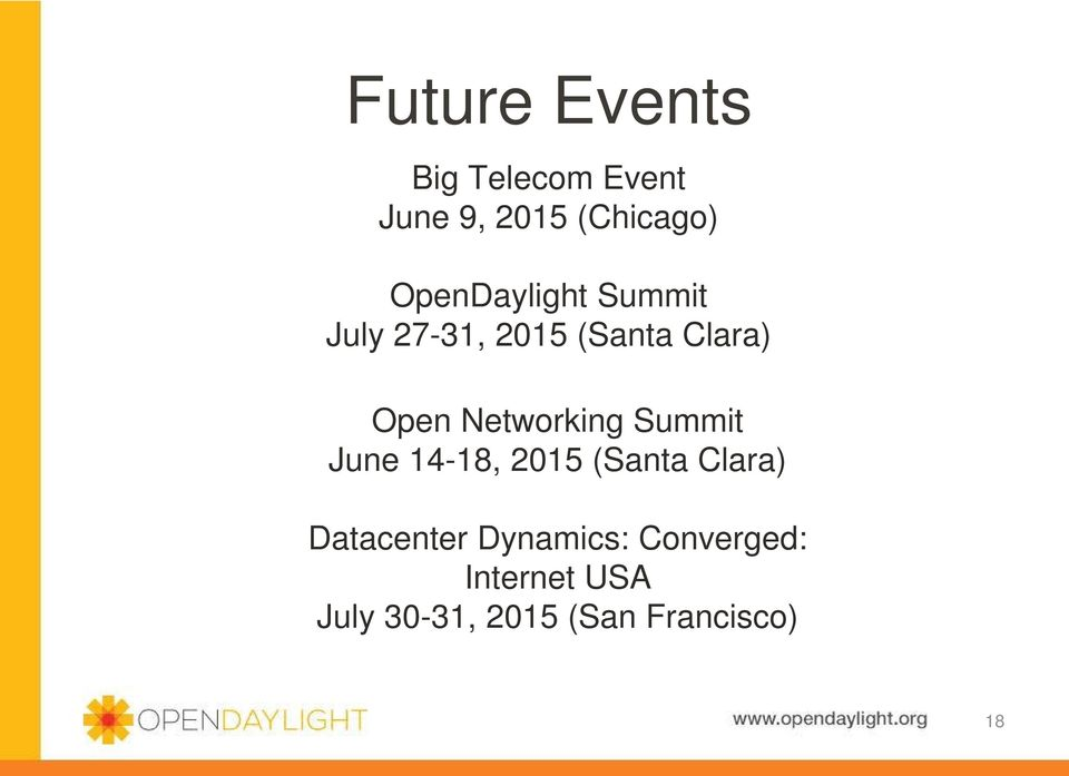 Networking Summit June 14-18, 2015 (Santa Clara) Datacenter
