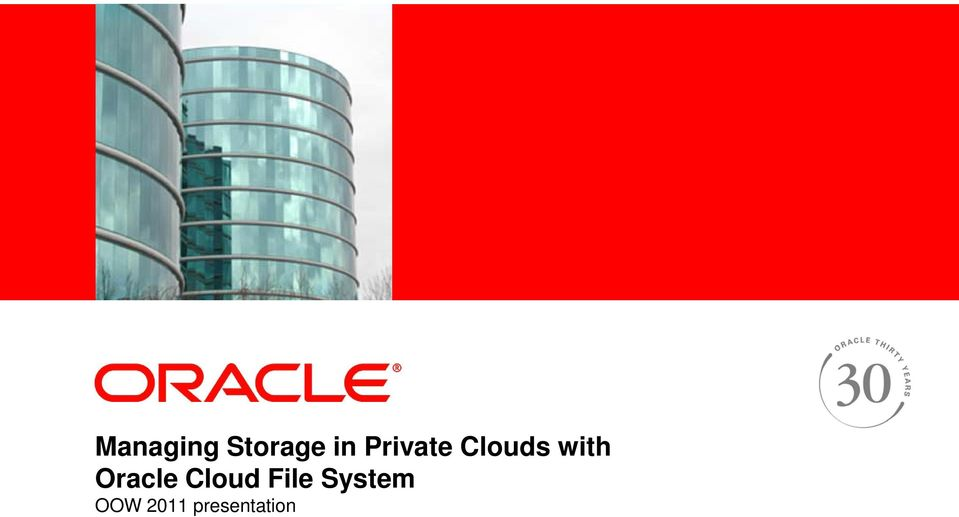 Private Clouds with Oracle