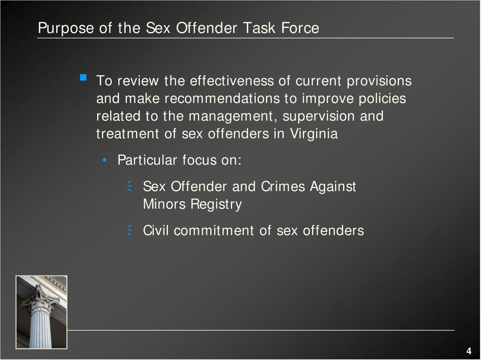management, supervision and treatment of sex offenders in Virginia Particular