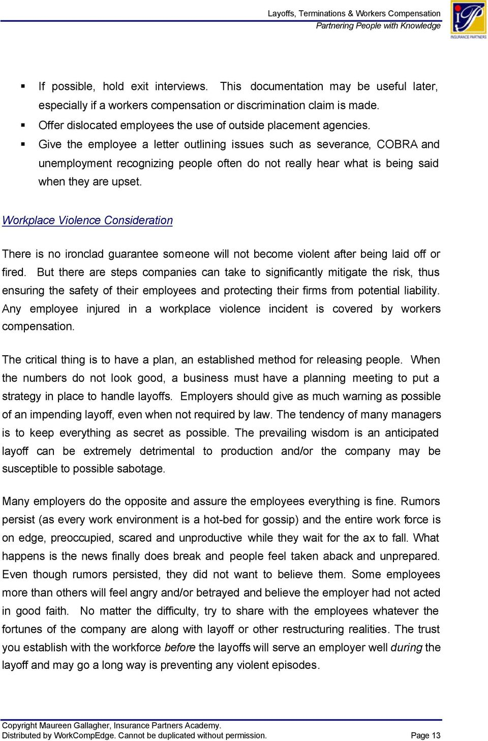 Layoffs, Terminations & Workers Compensation - PDF