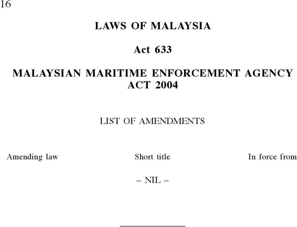 ENFORCEMENT AGENCY ACT 2004 LIST OF