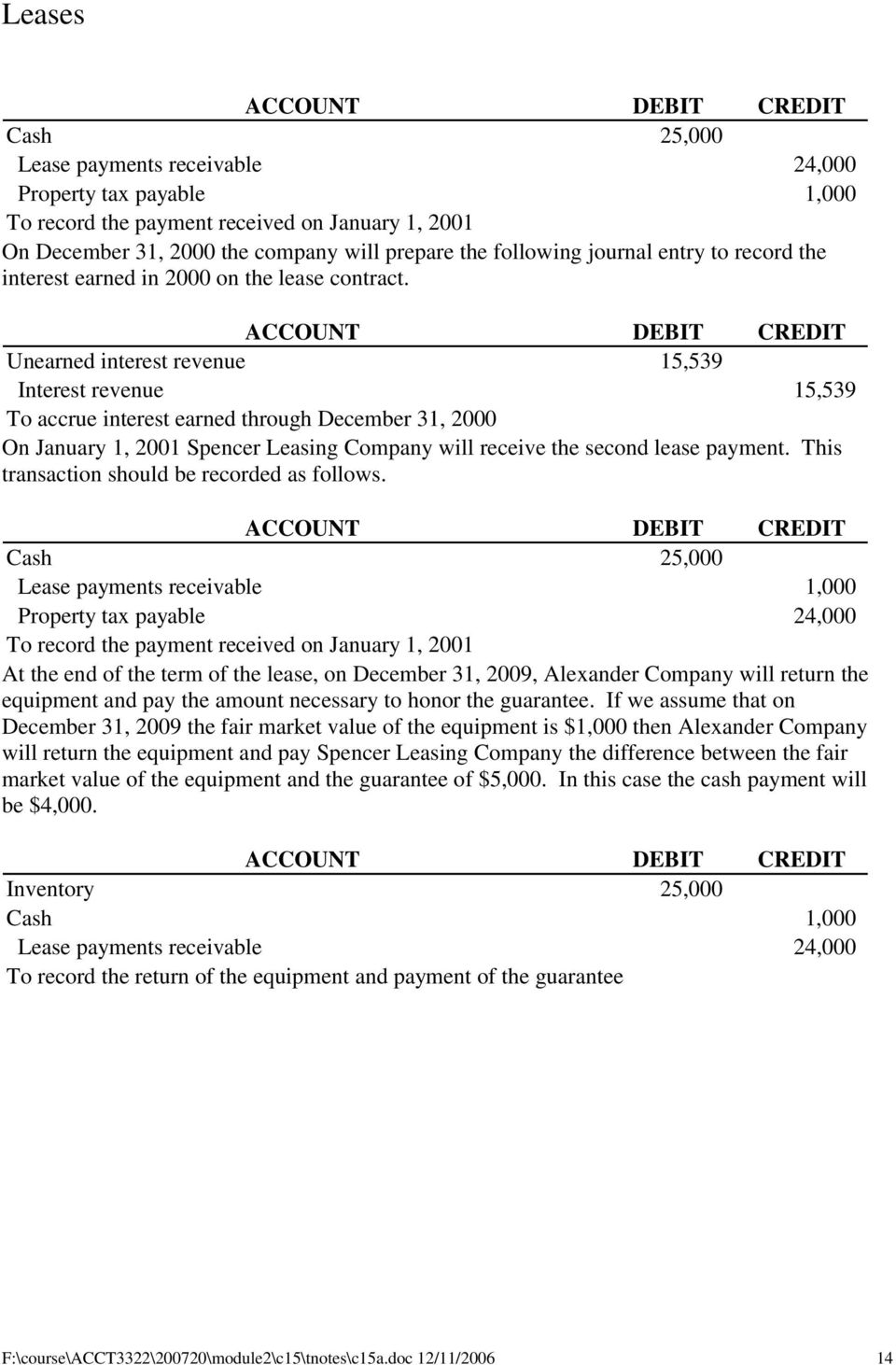 Unearned interest revenue 15,539 Interest revenue 15,539 To accrue interest earned through December 31, 2000 On January 1, 2001 Spencer Leasing Company will receive the second lease payment.