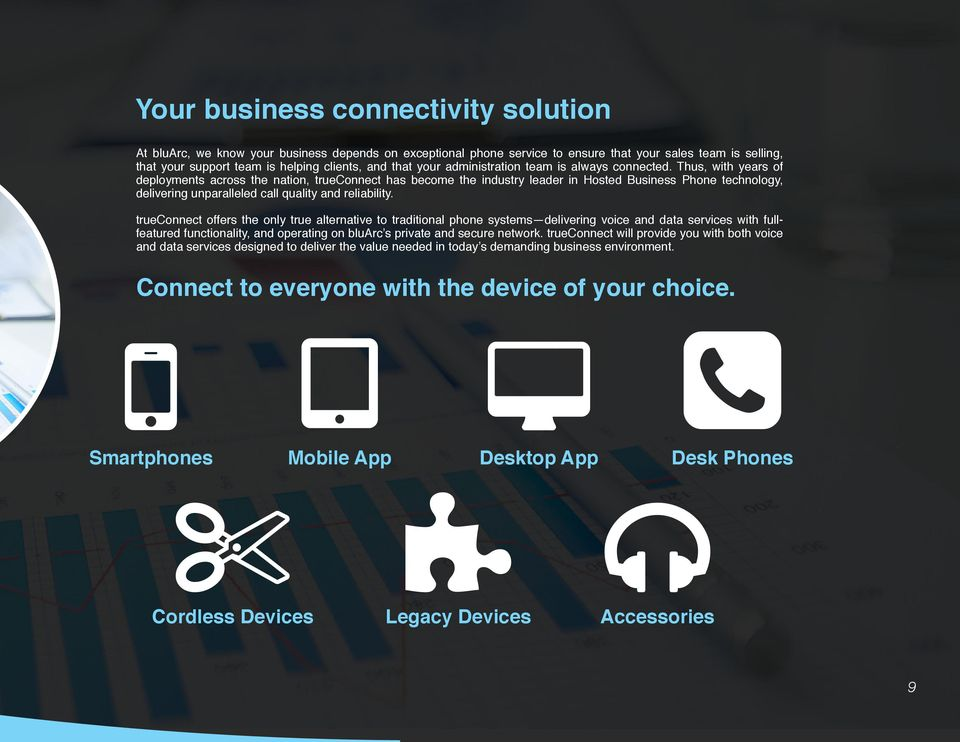 Thus, with years of deployments across the nation, trueconnect has become the industry leader in Hosted Business Phone technology, delivering unparalleled call quality and reliability.