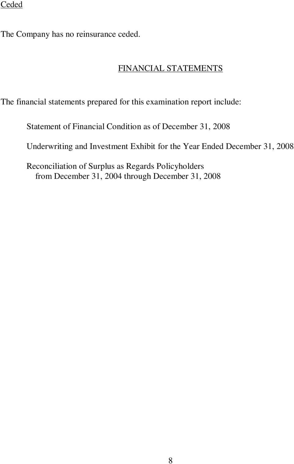 Statement of Financial Condition as of December 31, 2008 Underwriting and Investment