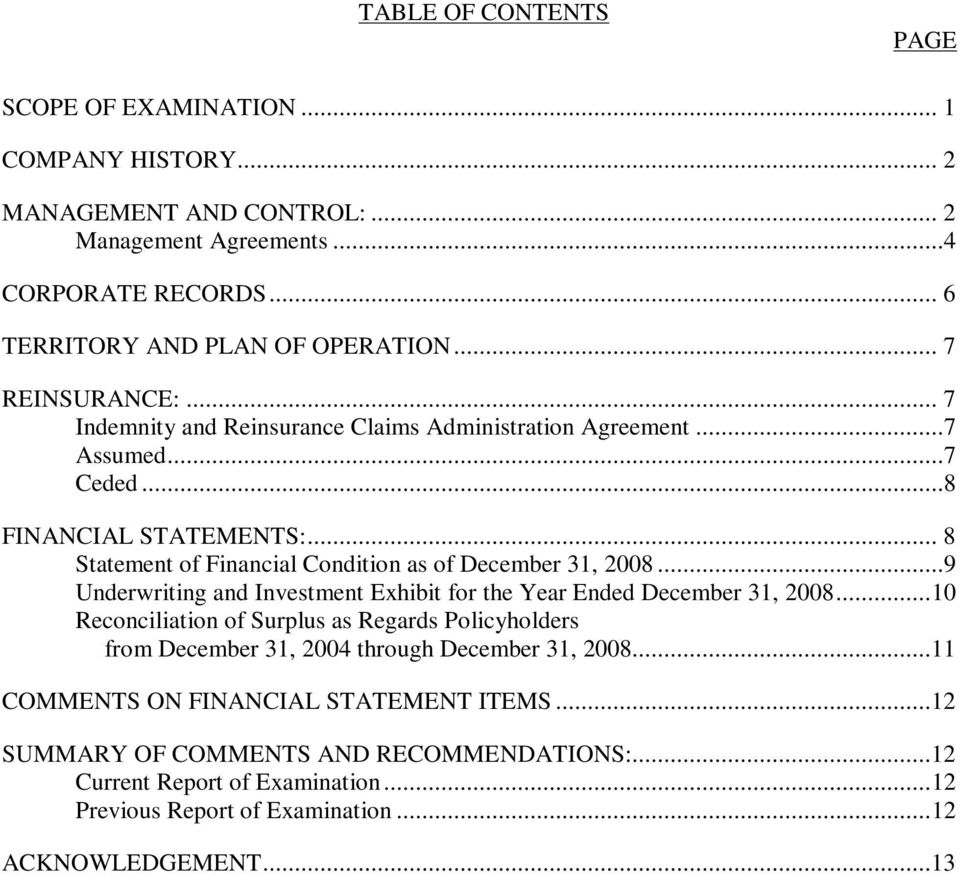 .. 8 Statement of Financial Condition as of December 31, 2008...9 Underwriting and Investment Exhibit for the Year Ended December 31, 2008.