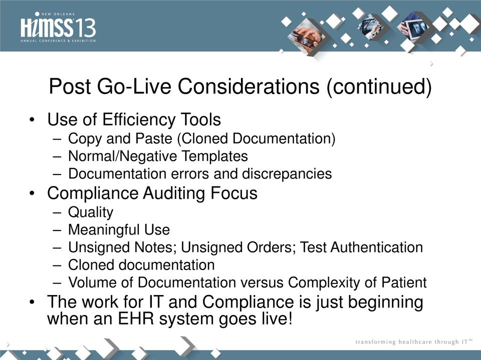 Meaningful Use Unsigned Notes; Unsigned Orders; Test Authentication Cloned documentation Volume of