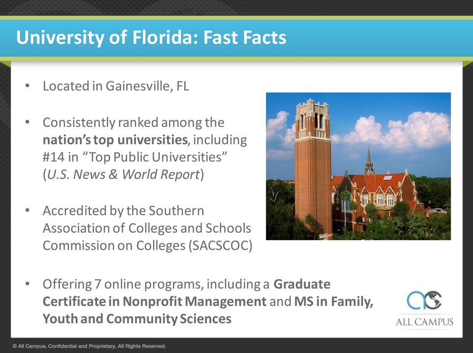 News & World Report) Accredited by the Southern Association of Colleges and Schools Commission on