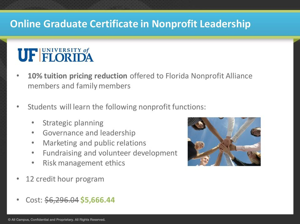 nonprofit functions: Strategic planning Governance and leadership Marketing and public relations