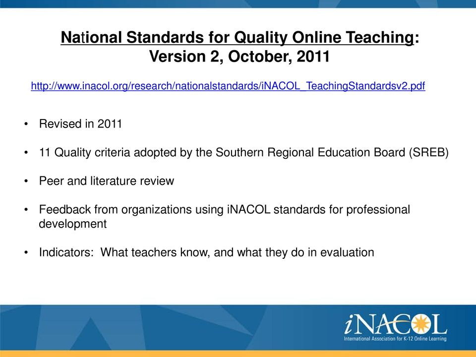 pdf Revised in 2011 11 Quality criteria adopted by the Southern Regional Education Board (SREB) Peer