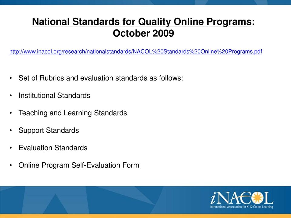 pdf Set of Rubrics and evaluation standards as follows: Institutional Standards